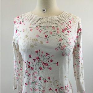 Croft & Borrow Floral White Shirt Size PL (B-88)